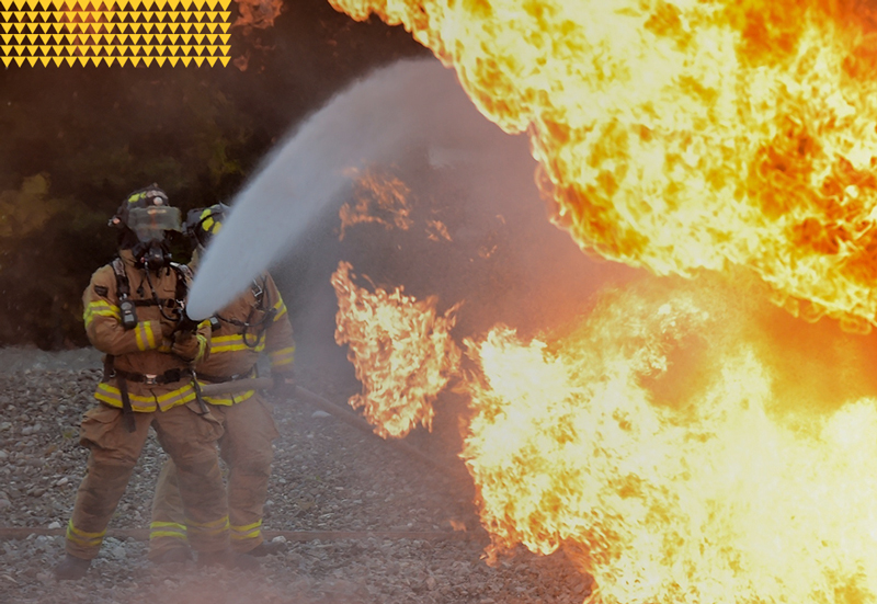 Fire Department, Stock Image of Two firefighters fighting massive fire 800x551