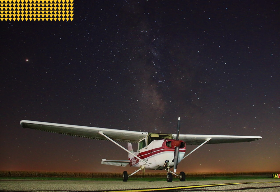 Aviation, airplane docked on a starry night 900x620