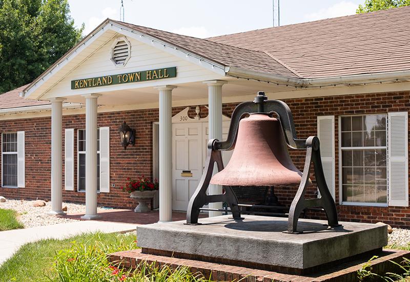 Clerk-Treasurer, Large Bell in front of Kentland Town Hall