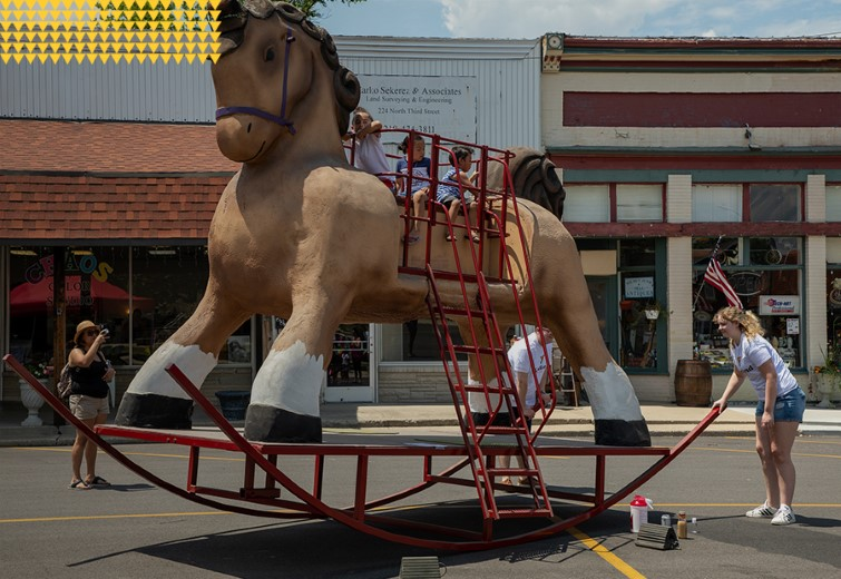 Cool Breeze Rocking Horse at Community Picnic in the Downtown Courthouse Square
