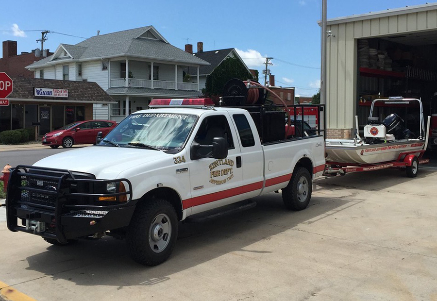 Kentland Fire Department Truck hauling boat